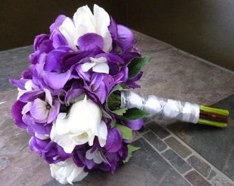 Hydrangea bridal bouquet Set, 1 bridal, 3 bridesmaids bouquets