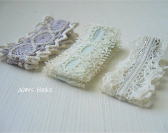 Lovely Little Lace Couture Hair Clips - Lace - Alligator - Set of 3 - Cream Mint Green Lavender - Infant Baby Girls Adult