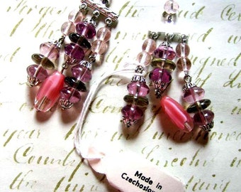 Czech Glass Pink Chandelier Drops