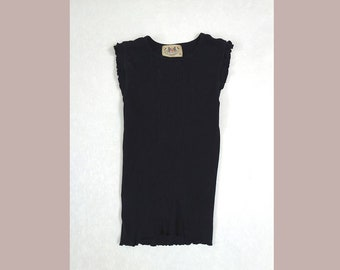Juicy Couture USA Tanktop // 90s Frilly Trim Basic Black Ribbed Cotton Tank  Size Medium