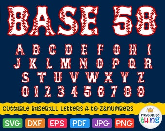 Baseball Font SVG SOFTBALL Letters & Numbers Svg Red Sox Alphabet Sport Monograms Svg BoSox Font Svg vinyl cut fonts for Cricut Silhouette