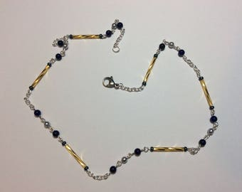 """Necklace for women """"Golden anchors and the lapis lazuli"""""""