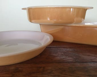 Sale! Was 39.00, now 28.00!! Set of 3!  Fire King Peach Lustre Bakeware Copper Tint Fire King Casserole Dishes Set of 3 1950s