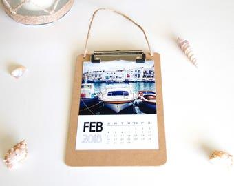Calendar prints, photo calendar, 5x7 calendar 2018 calendar, clipboard calendar, desk calendar, birthday gift, desk calendar travel calendar