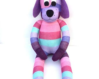 Devon the  Sock Dog - purples pinks and aqua - *READY TO SHIP*