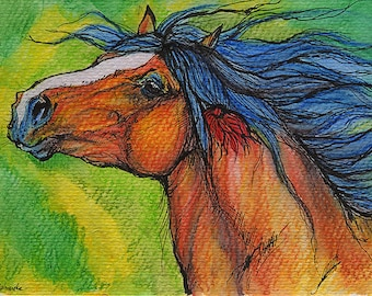 Bay heavy horse, equine art, equestrian,  ink and watercolor pencils original painting