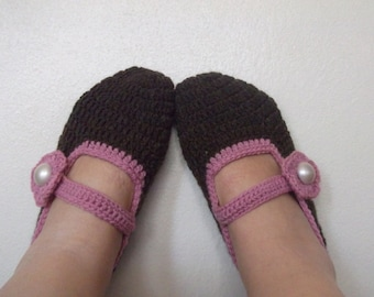 Crochet Slippers- adult mary jane slippers-Adult size