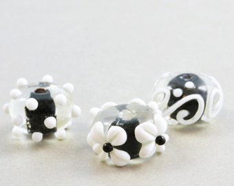 Black & White Beads, Lampwork Beads, Flower Beads, Bead Set, Three