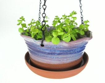 Blue, purple and green Hanging Pottery planter flower pot with attached drip tray plant pot for container gardening gardener gift
