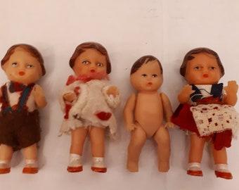 Lot Of 4 German ARI Shackman Rubber Dolls W/ Original Clothing 60's