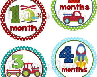 Monthly Baby Boy Stickers, Milestone Stickers, Baby Month Stickers, Monthly Bodysuit Sticker, Monthly Stickers (Vroom)