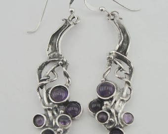 925 Silver Garnet Earrings, Hadar NEW Israel Long Sterling  Silver Amethyst Earrings, Long Silver Earrings, Amethyst Earrings,  (H 2103)