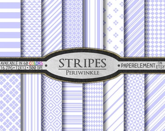 Periwinkle Striped Digital Paper Pack - Instant Download - Stripes and Diamond Patterned Paper for Digital Scrapbooking