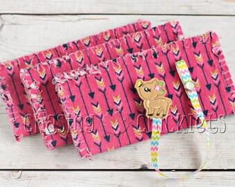 Baby Shower Gift Set // Pink Arrow Ragged Edge Burp Cloth // Flower Deer Pacifier Clip // Baby Burp Cloth Pacifier Clip