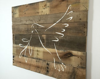 "Religious Decor Peace Dove Spiritual Wall Hanging on Reclaimed Pallet Wood 29""L x 37""W"