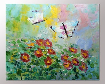 """Original Art Oil painting butterfly painting Abstract painting on 20x24"""" canvas unique wedding gifts for couples ready to hang"""