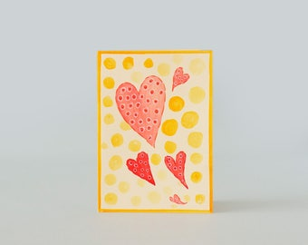 I Love You card. Handpainted not printed. Blank inside. Valentine's day card. Watercolour card with envelope. Blank greetings card.