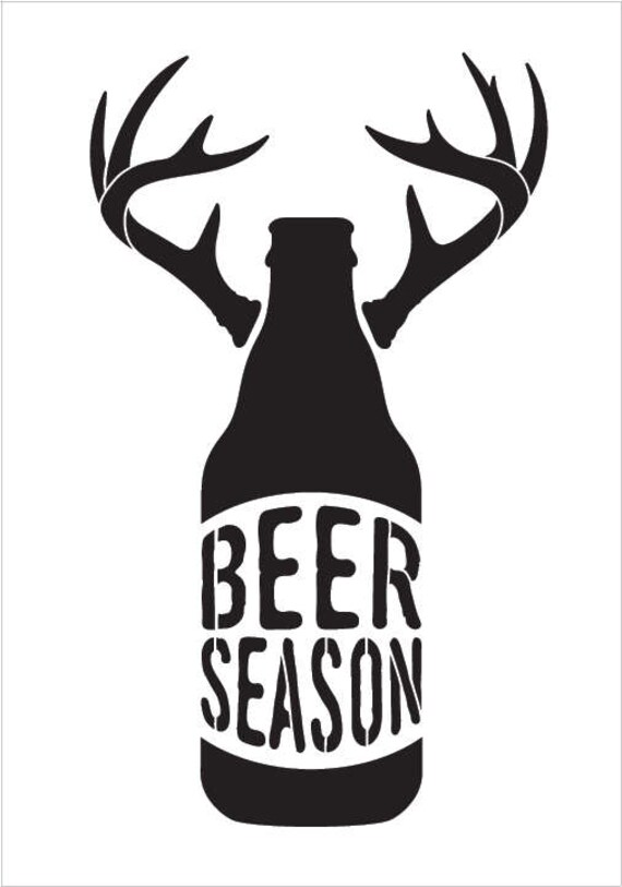 Beer Season Bottle With Antlers Word Art Stencil