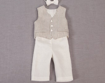 Baby boy ring bearer outfit boy baptism linen suit first birthday natural clothes rustic wedding striped fabric milk white formal SET of 3