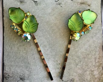 Woodland Goddess Bridal Bride Hairpins Vintage Juliana Jewelry 1940 1950  Decorative Molded Art Glass Leaf Leaves Hairpins Bobby Pins