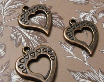 Mothers Day Sale 5 Pack New Antique Finish Brass Open Heart Charms