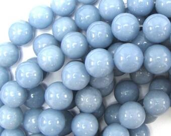"12mm blue angelite round beads 16"" strand 31419"