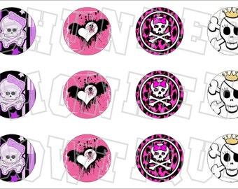 Assorted Girly Skulls Punk Princess bottlecap image sheet