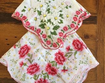 Pair of Vintage Pink & Yellow Handkerchiefs