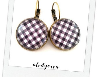 Checkered black and white • earrings • Monochrome 1 cabochon