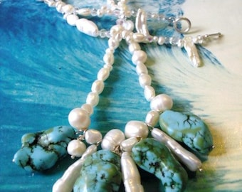 Turquoise and Fresh water Pearls Statement Necklace- Artisan Necklace- Bold