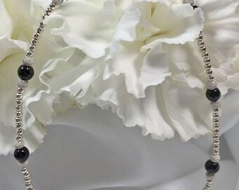 Black Onyx Sterling Silver Stardust Bracelet/ Ankle Bracelet (2964) Plus Sizes Available!
