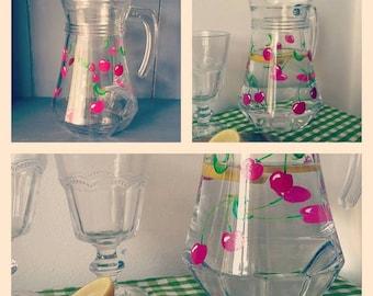 One hand painted drinks jug - retro cherry design