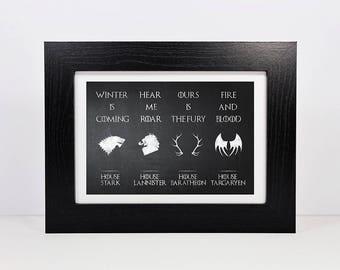 Framed Game Of Thrones Inspired House Sigil Print | House Stark | House Baratheon | House Lannister | House Targaryen Banner | Thrones Gift