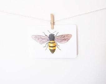 Honey Bee Art Postcard - watercolor, botanical, gouache, painting, nature
