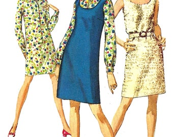 1960s Dress Pattern Vintage Sewing Simplicity Sleeveless Jumper Shirtdress Women's Misses Size 14 Bust 36 Inches
