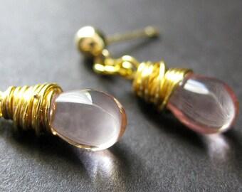 Pink Glass Wire Wrapped Teardrop Dangle Post Earrings in Gold - Elixir of Innocence. Handmade Earrings.
