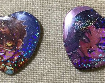 Overwatch Sombra, Tracer 2.25 in Heart Button, Heart Pin