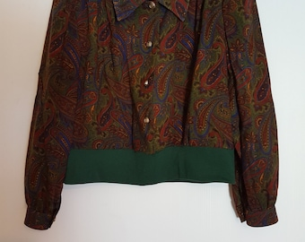 Vintage 1980's paisley long sleeved cropped blouse