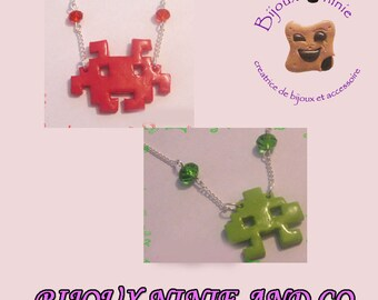 Space invaders in polymer clay, handmade necklace, handmade