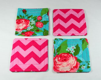 Fabric Coasters, set of four, reversible