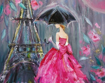 Fine Art Print of Mixed Media Painting Contemporary Paris Woman with Umbrella in the Rain Pink Dress 11x14