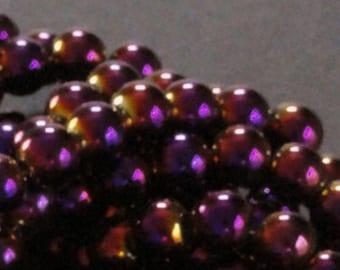 16 inch Strand HEMATITE 8mm Shiny METALLIC PURPLE Round Sphere Spacer Beads 53pc to 56pc