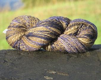 Handspun Handpainted Merino Wool Yarn, 4.5 oz., 135 g., 180 yards, Bulky Weight - Navy & Brown
