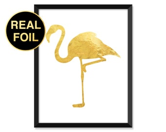 Gold Foil Print, Flamingo, Abstract, Minimal, typography, home decor, real gold foil, inspirational quote art prints