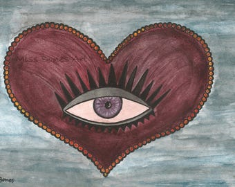 Looking for, Giclée Print (watercolor, ink, looking for, heart, hearts, eye, eye)