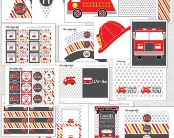 Fire Truck Birthday Party Package - Printable - Personalized // FIR- 09