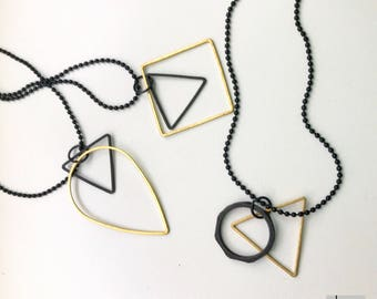 Black-long necklace with pendants-brass, black/gold plated