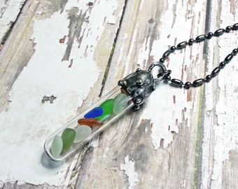 Soldered Glass Vial, Soldered Sea Glass Pendant, Glass Tube, Beach Pendant, Artisan Glass Necklace, Cobalt Blue, Amber, Seafoam Green