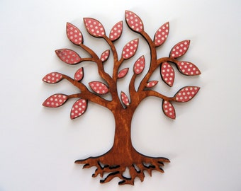 Tree of Life Wall Art, 10 Inch Wood Decoration, Adoption Fundraiser, Red White Polka Dots