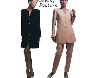 """Simplicity 6471 Linda Baday Misses Shift Dress, Tunic, High Waisted Pants Sewing Pattern Size 6 Bust 30.5""""/78cm Vintage 1990s UNCUT"""